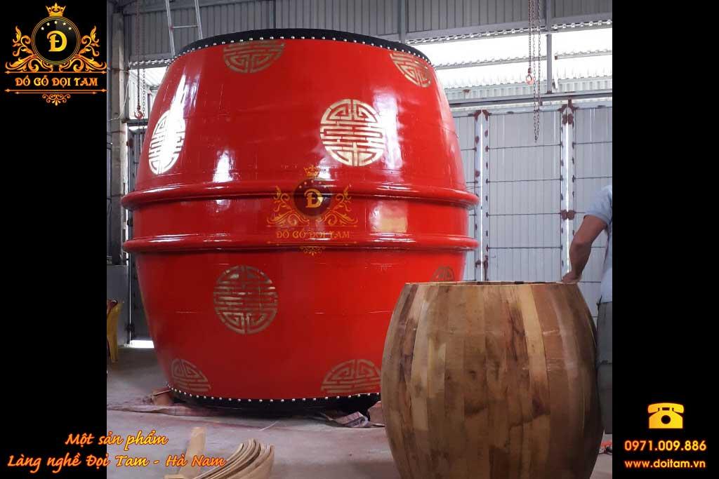 Trống gỗ đình chùa kích thước khổng lồ