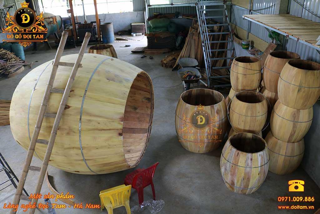 Sản xuất trống gỗ mít dùng cho trường học, đình chùa tại Quảng Ngãi - Cận cảnh dựng thân trống