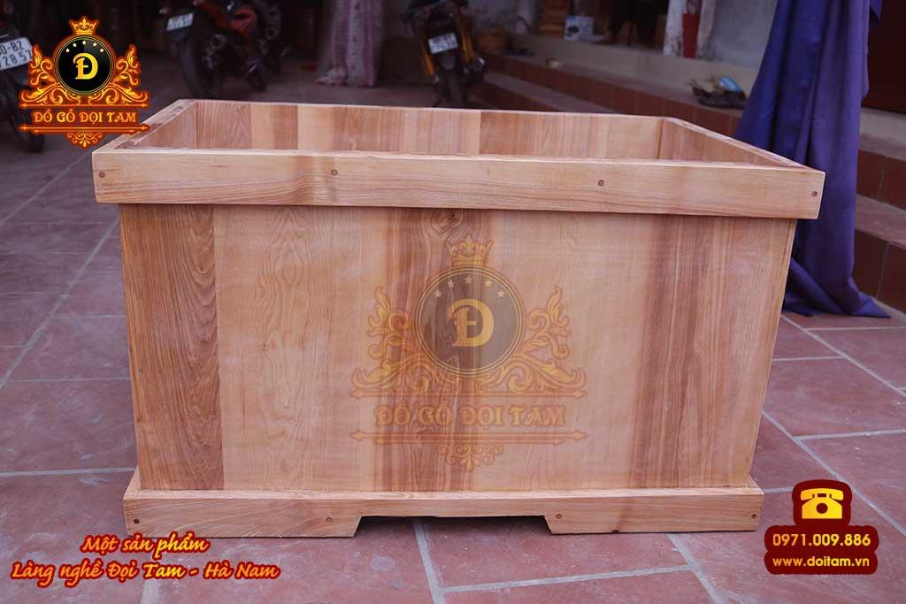 Bồn tắm gỗ Sồi vuông góc