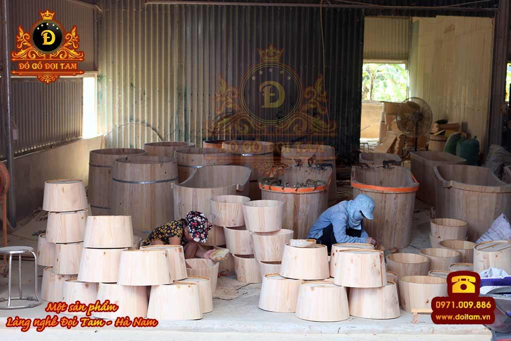 Cơ sở sản xuất chậu gỗ ngâm chân tại làng nghề Đọi Tam - Đặt mua chậu gỗ ☎ 0971.009.886 #chaugo #doitam #duytien #hanam #vietnam #dogodoitam